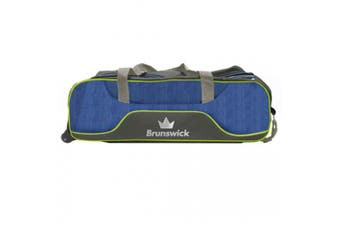 Brunswick Crown Deluxe 3 Ball Tote Roller Bowling Bag, Navy/Lime