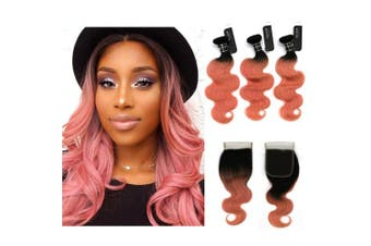"""(16""""18""""20""""+closure14"""", 1b/Rose Gold) - BQ HAIR 8A Top Quality 1B/Rose Gold Ombre Brazilian Body Wave Two Tone Virgin Human Hair 3 Bundles with 4""""x4"""" Free Part Lace Closure (14+20 18 16)"""