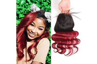 (Closure 18) - Alisfeel Ombre Body Wave Closure Human Hair 4x 4 Lace Closure Brazilian Body Wave Ombre Black to Burgundy 46cm Free Part (Free Part Closure 46cm )