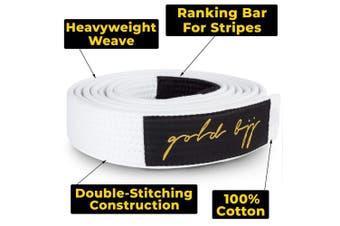 (A4, White) - Gold BJJ Jiu Jitsu Belt - Premium Heavyweight IBJJF Legal Belts - White, Blue, Purple, Brown, Black - A0, A1, A2, A3, A4, A5 - Rank Bar Stripes