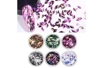 (Rhombus shape) - 6 Colours Shiny Nail Art Rhinestones 3D Rhombus Diamond Nail Gems Decorations Supplies
