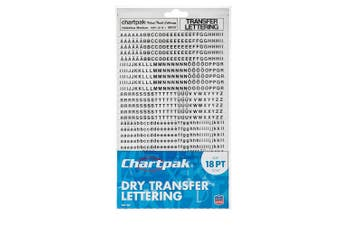 (18PT) - Chartpak Dry Transfer Letters and Numbers, 18PT Helvetica Font, 907 per Pack (00107)
