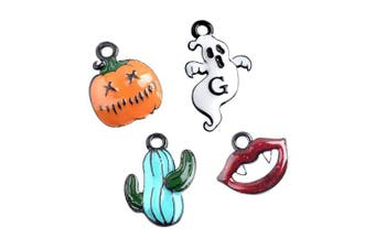 M271-E 8pcs New Tiny Halloween Cactus Blood Lip Pumpkin Ghost Bracelet Charms Pendants Wholesale