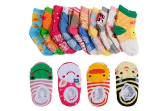 (For Baby Girls(Multicoloured)) - Lictin 14 Pairs Anti-slip Toddler Socks Baby Infants Socks Assorted Kids Socks Animal Print Girls Socks Fun Design Coloured Socks with 2 Styles Baby Socks Set Socks Gift for 1-3 Years Baby