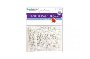 (White) - CraftMedley Pony Beads, Standard, 9mm, White, 175-Piece