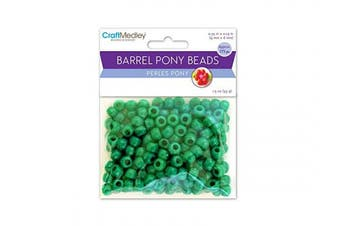 (Kelly Green) - CraftMedley Pony Beads, Standard, 9mm, Kelly Green, 175-Piece