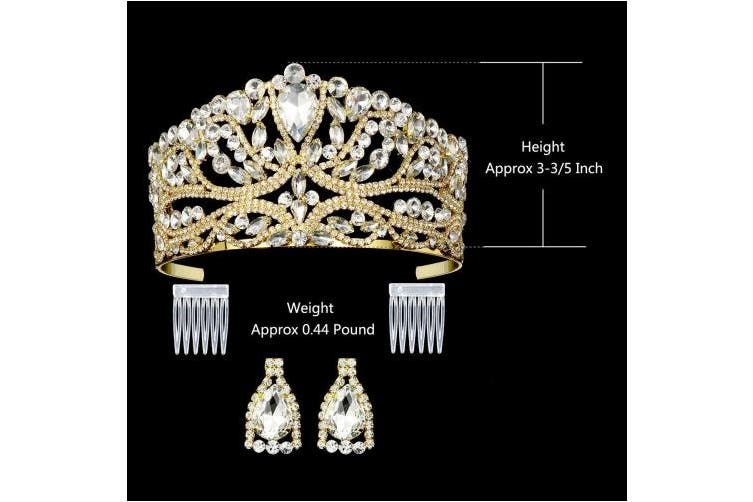 """(3-3/5""""Tall Gold) - DcZeRong Princess Queen Tiara Crowns Rhinestone Crystal Adult Women Birthday Pageant Prom Gold Crown"""