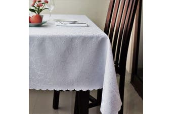 (Rectangle 150cm  x 360cm , White) - Stain Resistant Turkish White Tablecloth Polyester Table Cover Rectangle Square Round Washes Easily Non Iron - Thanksgiving Christmas Dinner Wedding New Year eve Gift (WHITE, Rectangle 150cm x 360cm )