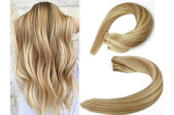 (50cm , #12P613 Light Brown/Bleach Blonde) - SeaShine Tape in Hair Extensions #12P613 Light Brown/Bleach Blonde 100% Remy Human Hair Extensions Silky Straight for Fashion Women 20 Pcs/Package(50cm #12P613 50g)