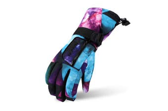 (Blue starry, XS(Age 4~6/Height 100~110cm)) - VERTAST Kids Mens Womens Windproof Winter Warm Gloves Weather Proof Snow Ski Cycle Gloves
