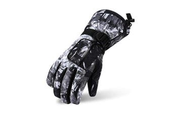 (Black graffiti, S(Age 7~9/Height 110~130cm)) - VERTAST Kids Mens Womens Windproof Winter Warm Gloves Weather Proof Snow Ski Cycle Gloves