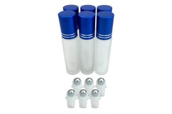 (6 Bottles, BLUE) - Beauticom Glass 10ml ~ 1/3 oz Roller Bottles with Metal Cap, Stainless Steel Roll Balls for Essential Oil, Aromatherapy, Perfume, Lip Gloss, Lip Balm, Roll on Bottles (6 Bottles, BLUE)
