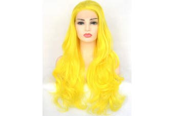BLUPLE Sexy Yellow Synthetic Lace Front Wigs Long Natural Wavy Heat Resistant Hair Replacement Full Wigs for Women (60cm , Natural Wave,Sexy Yellow)