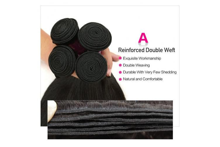(12 12 14 14) - Hermosa Brazilian Straight Hair 4 Bundles 7A Unprocessed Virgin Brazilian Hair Straight Human Hair Weave Weft Natural Black (12 12 14 14)
