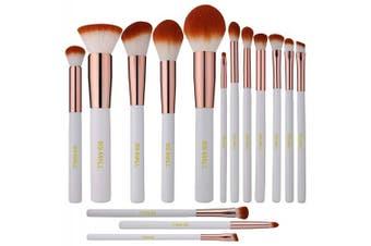(white) - BS-MALL Premium Synthetic Kabuki Makeup Brush Set Cosmetics Foundation Blending Blush Eyeliner Face Powder Brush Makeup Brush Kit (15pcs, White Rose)