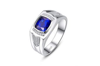 (S) - Bonlavie Men's Ring Created Blue Sapphire CZ 925 Sterling Silver Engagement Ring Wedding Band Gift Box