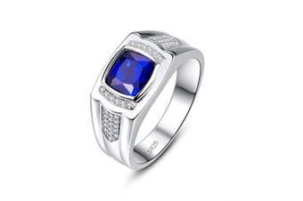 (Y) - Bonlavie Men's Ring Created Blue Sapphire CZ 925 Sterling Silver Engagement Ring Wedding Band Gift Box