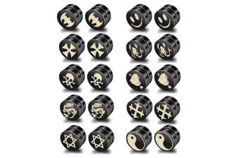 BeadsMonster Wholesale Lot of 10 Pairs 10mm Black Titanium Steel Magnetic Stud Earrings for Men Women Punk Teen Girls Boys