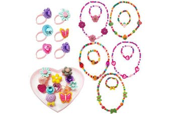 (Christmas Gift Set) - 7Queen Kids Jewellery - for Little Girls and Toddlers - Stretch Butterfly Necklace, Ring, Bracelet Set - Great Costume Jewellery and Accessories for Children to Play Pretend and Dress Up
