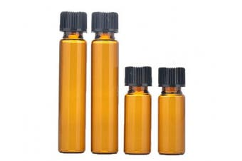 12PCS 10ML Refillable Amber Glass Essential Oil Bottles Vials Container Jar with Orifice Reducer and Cap (10ML)
