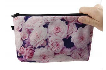 (2pcs/set, pink rose) - Admirable Idea Women's Flowers Printing Makeup Pouch Cosmetic Bags(pink rose/2pcs)