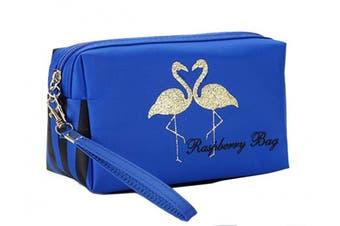 (1pc, blue&bird) - Admirable Idea Women's Flowers Printing Makeup Pouch Cosmetic Bags (1pc, blue & bird)