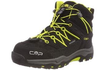 (12 UK Child, Black (Nero-limeade 83bg)) - CMP Unisex Kids' Rigel Mid High Rise Hiking Shoes,