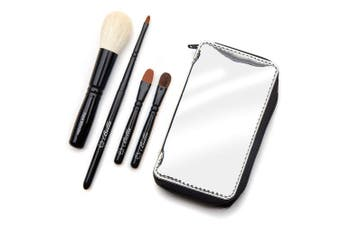 Bella Mini Travel Makeup Brush Set with Mirror Travel Case | Handmade in USA | Includes Face Blender, Cream Shadow, Eye Shadow, and Fine Eye Liner Cosmetic Brushes | Compact Make Up Kit for Women