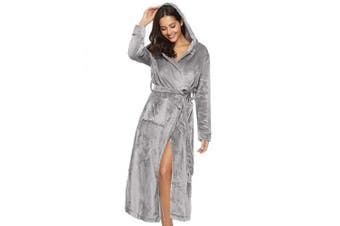 (UK(8-10)/EU(36-38), Light Grey-style B) - Aibrou Dressing Gown, Unisex Coral Fleece Bathrobe Warm Soft & Cosy Towelling Robe Housecoat with Full Length for Men Women