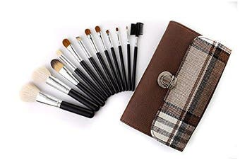 Halo World High End Kabuki Makeup Brushes Set Face Eyeshadow Foundation Powder Blending Blush Cosmetics Brushes with PU Leather Bag (brown)