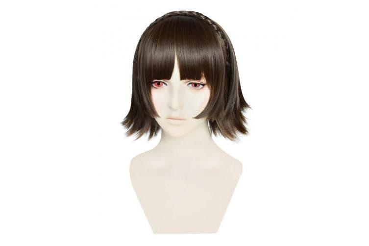 C-zofek P5 Makoto Niijima Cosplay Wig Braid Strip Styled (Dark Brown)