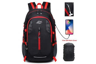 (Black) - 30L Lightweight Hiking Backpack Trekking Rucksacks Travel Daypack 38cm USB Laptop Outdoor Sports Bag Waterproof with Rain Cover