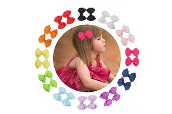 20PCS Cute Bowknot Small Hair Bows Alligator Clips Barrettes Hair Pins Accessories for Girls Teens Toddlers Kids Children Multi-colour Durable No Fraying No Slipping