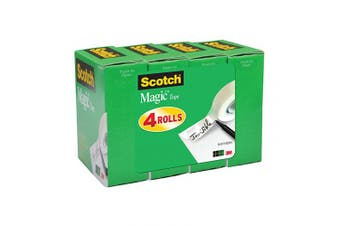 (No Dispenser, 4 Rolls) - Scotch Magic Tape, Numerous Applications, Invisible, Cuts Cleanly, Engineered for Office and Home Use, 1.9cm x 2540cm , Boxed, 4 Rolls (810K4)