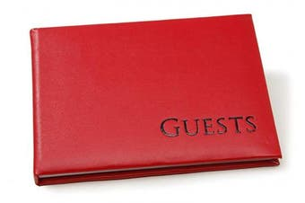 (Bright Red) - Darice 35935 Embossed Guest Book, Bright Red with Black lettering
