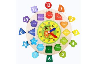 Afunti Wooden Shape Sorting Clock / Wooden Clock with Numbers and Shapes Sorting Blocks