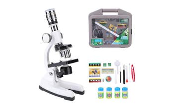 Dilwe Kids Microscope Kit, 1200X Portable Biological Compound Monocular Microscope LED Light Optical Glass Lens Science Toys for Children