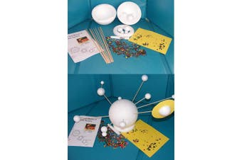 2to5 Large Make Your Own Solar System Kit 15cm Hollow Polystyrene Sun 11 Solid Planets with Rods Saturns Ring & Sprinkles School Project Classroom Demonstration Model
