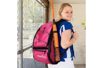 (Magenta) - Athletico Baseball Bat Bag - Backpack for Baseball, T-Ball & Softball Equipment & Gear for Kids, Youth, and Adults | Holds Bat, Helmet, Glove, Shoes | Separate Shoe Compartment, Fence Hook