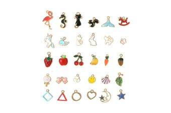 30 Pcs Assorted Enamel Charm Pendant Gold Plated Animals Fruit Moon Star Dainty Dangle Crafting Accessories for Necklace Bracelet Ankle Earring Jewellery DIY Making
