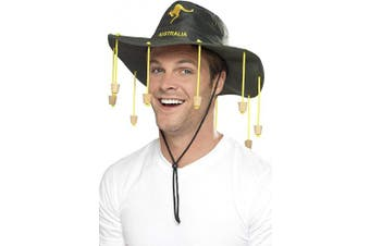 (One Size, Green) - Australian Hat with hanging imitation corks for Fancy Dress