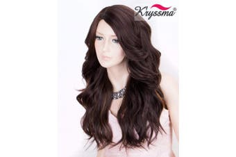K'ryssma Brown Synthetic Wigs with Highlights, Long Wavy Wigs with Right Side Parting Full Machine Made Cheap Wigs