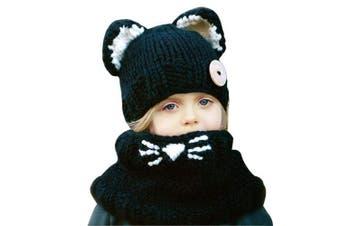 (Black (2-8 years old)) - Baby Girls Boys Winter Hat Scarf Earflap Hood Scarves Caps (Black (2-8 years old))