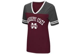 (Small, Mississippi State Bulldogs-Maroon) - Colosseum Women's NCAA Varsity Jersey V-Neck T-Shirt
