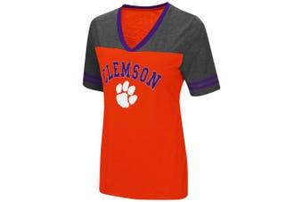 (Small, Clemson Tigers-Orange) - Colosseum Women's NCAA Varsity Jersey V-Neck T-Shirt