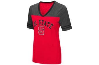 (Medium, North Carolina State Wolfpack-Red) - Colosseum Women's NCAA Varsity Jersey V-Neck T-Shirt