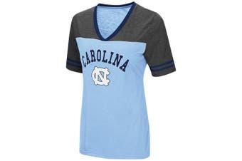 (Small, North Carolina Tar Heels-Carolina Blue) - Colosseum Women's NCAA Varsity Jersey V-Neck T-Shirt