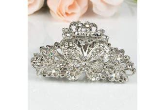 (silver) - Beautyxyz Woman's new butterfly design XLarge 8.9cm metal rhinestones hair clip claws (silver)