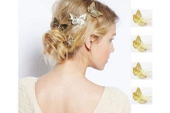 Auch Butterfly Hair Clips, Hair Accessories, Hairpin 4Pcs - Gold