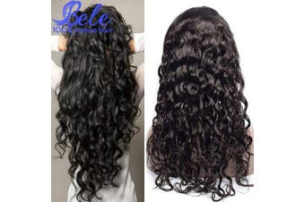 (60cm , Water Wave Wig) - Bele Pre-Plucked Brazilian Water Wave Lace Front Wigs 150% Density 100% Unprocessed Human Virgin Hair Lace Frontal Wigs With Baby Hair 60cm